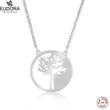 Eudora Love Life Lucky Family Tree 925 Pure Sterling Silver Pendant Necklace For Women Pretty Fine Jewelry Bijoux Collares(China)