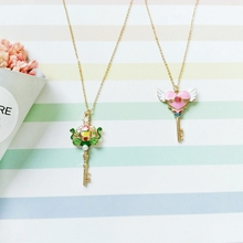 Sweet Comic and Animation Green Rhinestone Pumpkin Cart Cartoon Pendant Necklace for Girls Pink Heart Key Necklaces(China)