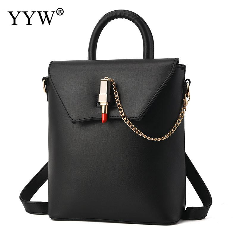 New Arrivals Black PU Leather Backpack Female Pink Backpacks for Adolescent Girls Women Buckle Chain Turnlock Casual Small Bag<br>