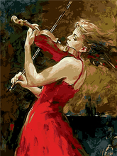 Framess painting by numbers paintquadros de parede para sala for living room modern abstract oil painting Girl playing a violin