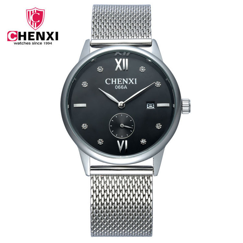 2017 Fashion Men Watch Luxury CHENXI Classic Black Silver Retro Quartz Wristwatch Rhinestone Waterproof Dress Casual Watch Gift<br><br>Aliexpress