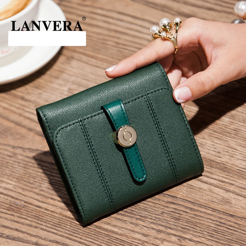 LANVERA New Women Coin Purses Square Fashion Style Soft Genuine Leather Cow Leather Solid Pattern Cover Wallet Green/Violet<br>