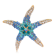 Vintage Crystal Starfish Shape Brooch Hair Accessories Resin Turkish Jewelry Fashion Pins And Brooches For Women Sweater Pin