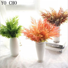 YO CHO Maple Artificial Simulation Leaf Plastic Fern Plant Flower Decoration Orchid Leaves Home Wedding 3 Colour - Lovgrace store