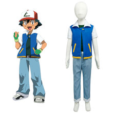 Pokemon Cosplay Ash Ketchum Satoshi Costume Season 1 Original Child Cosplay Costume Kid Version