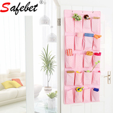 Oxford Large Hanging Pockets Stainless Steel Hooks Closet Space Saver Organizer Storage Bag Dots Wall Door 136*55.5cm Pink Blue(China)