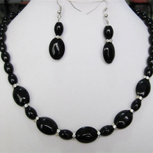 Beautiful black newly carnelian stone onyx 8X12mm 13X18mm fashion oval beads diy necklace earrings set jewelry 50 inch BV368