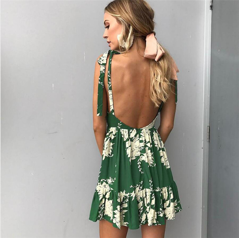 Hirsionsan Short Bohemian Dress 2017 Summer Women Sundress Sexy V-neck Floral Print Boho Dress Backless Green Beach Sundress 5