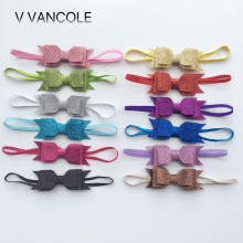 NEW Fashion Glitter Bows Headband Stretch thin Hair Bands Accessories 3layer bows for photo props accessory 12pcs/lot