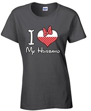 Custom Design Your Own Shirt Women's I Love My Husband Funny T-shirt Wife Red Heart Tee Shirts Apparel Print Tees