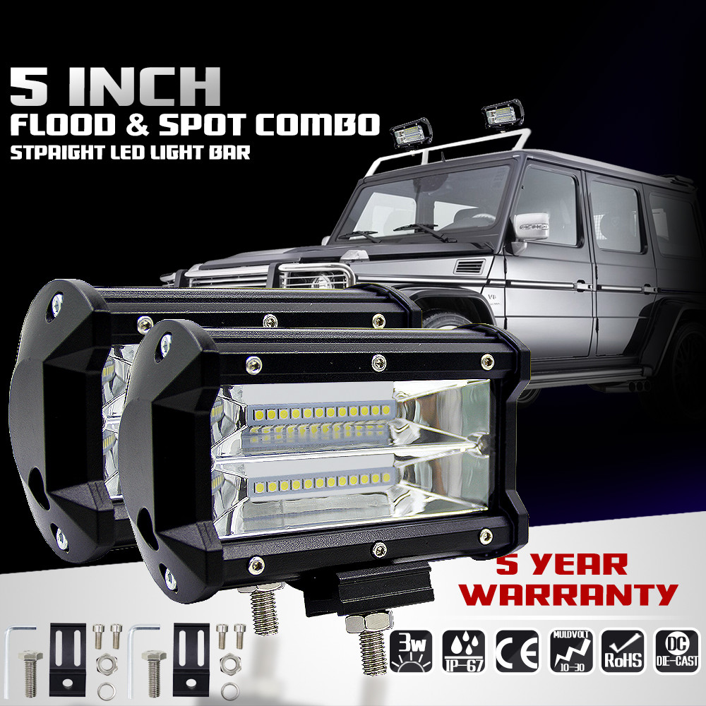 Car-styling 2pcs 5INCH 72W Two Rows Led Light Bar Modified off-road Lights Roof Light Bar td1116 Dropship<br>