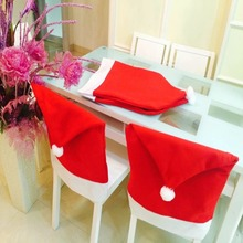 2 pcs Merry Chiristmas Santa Clause Red Hat Chair Back Cover Non-woven Fabric Seat Cover Dinner Table Party  Christmas Decor