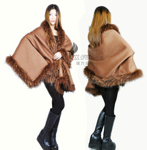 CX-B-P-26 New Fashion Style wholesale Pashmina Shawl With Raccoon Fur Collar ~DROP SHIPPING(China)