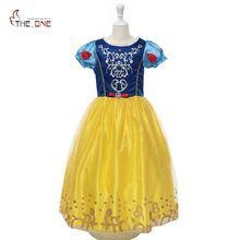 MUABABY Girls Snow White Costume Kids Summer Princess Ball Gown Children Short Sleeve Party Dresses Girl Cospaly Birthday Gift(China)
