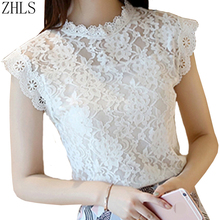 Women Lace Sleeveless Solid Blouse And Shirts Femme Hollow Out O-neck Summer Blusas Sexy Ladies Female Top Blouses(China)