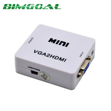 Mini VGA to HDMI Converter With Audio VGA2HDMI 1080P Adapter Connector For Projector PC Laptop to HDTV(China)