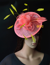 NEW Coral yellow Big sinamay fascinator hat  for Tea Garden party Royal Races Kentucky derby.FREE SHIPPING