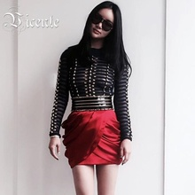 Free Shipping! 2017 Hot Fashion Runway Inspired B*lmain Studs Embelished Sheer Mesh Grid Caged Long Sleeves Women Bandage Top