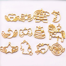 12pcs unicorn star moon  Open Bezel Metal Frame Pendant Gold Charm Bezel Setting Cabochon Setting UV Resin Charm