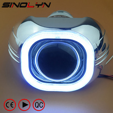 Buy SINOLYN Metal 3.0'' H4 Q5 D2S Bi xenon Lenses HID Projector Lens Headlight Kit Square COB LED Angel Eyes Halo White Car-styling for $73.79 in AliExpress store