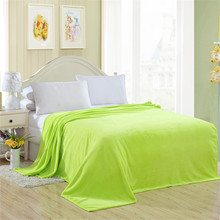 2016new Blanket Apple Green Solid Warm and Portable Color Bed Cover Blanket Soft and Comfortable Flannel 4 Size