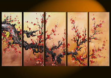 Handpainted Oil Painting Fashion Chinese Plum Floral Paintings On Canvas Handmade Home Decor Wall Art Picture Red Flower Oi
