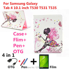 For Samsung 10.1 case with diamond stand Leather case cover For Samsung Galaxy Tab 4 10.1 T530 T531 T535 Tablet PC+pen+Film+OTG(China)