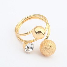 Multilayer Rhinestone Crystal Double Matte Ball Ring Jewelry Romantic Simple Unique Ring Retail&Wholesale For Women Lady