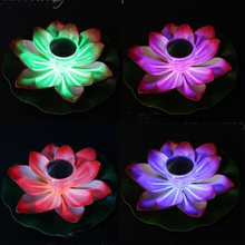 4pack LED Solar Lotus/Water Lily Lantern Waterproof Float Light Colorful LED Floating Yard Pond Garden Pool wishing Night Light