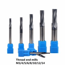 Free Shipping Carbide thread end mills 4F-M3 M4 M5 M6 M8 M10 M12 M14 thread mills, thread milling cutter with TIALN coating(China)