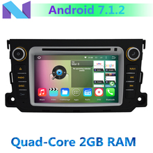 1024*600 Quad Core CPU 2GB RAM Android 7.1.2 Car DVD Player for Mercedes Benz Smart Fortwo 2011 2012 2013 2014 GPS Radio Stereo