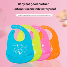 The new silicone bag pocket pocket baby waterproof leather pocket children printed pattern animal solid color bib(China)