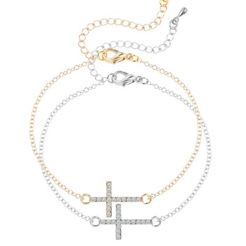QIMING Gold Silver Plated CZ Crystal Cross Necklace Convex Cross Crystal Bracelets Bangles Jewelry Gift for Women Girls