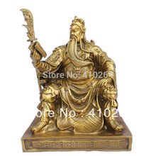 FREE SHIPPING [Nice Discount ] Free Shipping  bronze brass Dragon Guan Gong/ Yu Reading book Statue 15cm H Gold Color