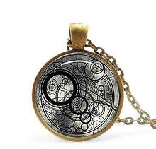 New Steampunk UK drama doctor dr who black line time lord Necklace 1pcs/lot bronze / silver Glass Pendant jewelry chain iron man