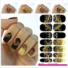 2017 Hot Sale V633 Water Transfer Nail Foil Sticker Black Dream Peacock Feathers Wraps Elegant 3d Manicure Decor Tools Decals