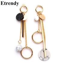 Trendy Ab Design Marble Long Earrings For Women 2018 Round Circle Fashion Jewelry Wholesale Cute Gift(China)