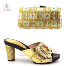Clearluv 120309 gold New Fashion Italian Shoes With Matching Bags African Women Shoes and Bags Set For Prom Party(China)