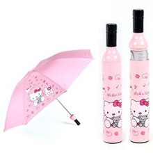 New 3pcs/lot wine bottle Umbrella Fashion Umbrella Folding Umbrella with Hello Kitty Design(China)