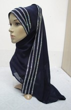 H899a latest georgette muslim long scarf with rhinestones(China)