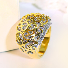 Elegant Jewellery Gold-color Cute Romantic design Wedding rings Cubic Zirconia Pave Setting Filigree Premium quality Women ring(Hong Kong)