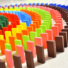 Colored Authentic Standard Wooden Dominoes quality of infants and young children domino blocks kids educational toys