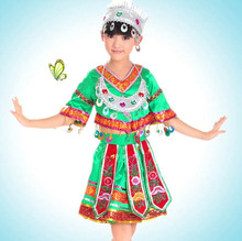 Chinese folk dance costume for kids traditional chinese costume miao clothing hmong clothes with headdress With Hat