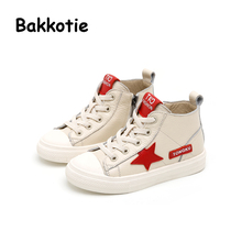Bakkotie 2017 Autumn Baby Boy Brand Shoe Genuine Leather Child Girl Leisure Sneaker High-top Kid Trainer Breathable Toddler Star