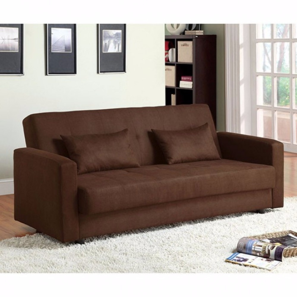 Microfiber Fabric Simplistic Sofa Futon, Brown