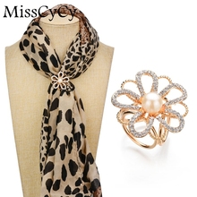 MissCyCy Luxurious Gold Color Scarf Clip Simulated Pearl Jewelry Camellia Rhinestone Brooches Women Gift