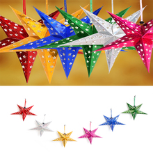 DIY Party Laser Paper Stars Garland Star Christmas Tree Ornaments Wedding/Birthday/ Decoration 30cm Xmas Tree Drop Pendant Star(China)