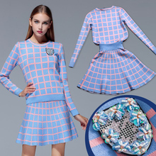 New 2017 Spring Autumn Women Clothing Set,Knitted Pullover Sweater+Popular grid Skirt,2 Piece Set Women SKirt Top Free Shipping