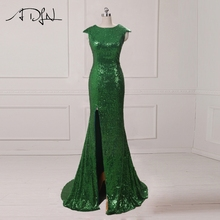 ADLN Mermaid Evening Dresses With Slit Scoop Cap Sleeve Sequin Long Prom Dresses 2017 Sexy Party Gowns Rose Gold/Green/Burgundy