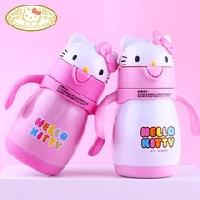 Hello Kitty Thermos Bottle Learn Drink Cup Baby Water Bottle With Handle Drink Cup Glass water bottle With Straw Vacuum Flasks